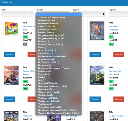 Selecting from the filter by edition list